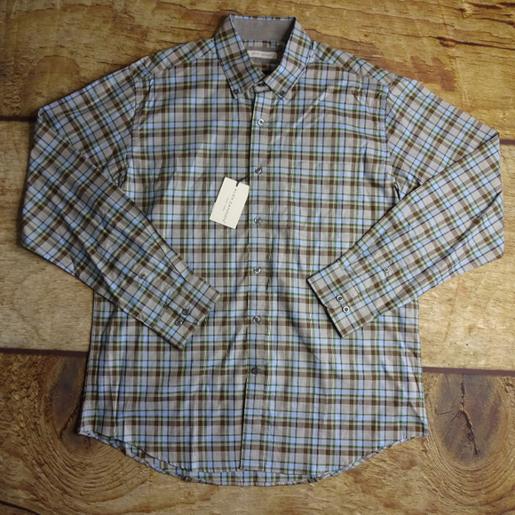 Alex Cannon Other - Alex Cannon Large Button Front Brown Plaid Shirt